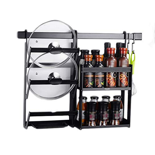 Aluminum Mounted Rack Pot Table - Kitchen Rack Aluminum Drain Black Hook Two-Layer Seasoning Pot Lid Wall-Mounted Multi-Function Storage Home Free Punch MUMUJIN