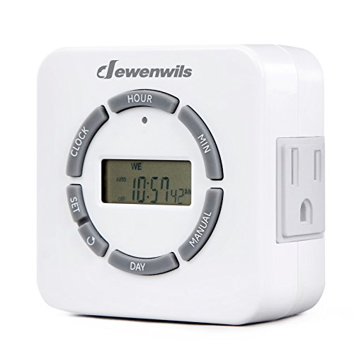 Electric Countdown Timer (Dewenwils Digital Light Timer, Indoor Plug In Heavy Duty 7 Day Programmable Timer Switch for Lights with Countdown and Random, 2 Grounded Outlets, 15A, ETL Certified)