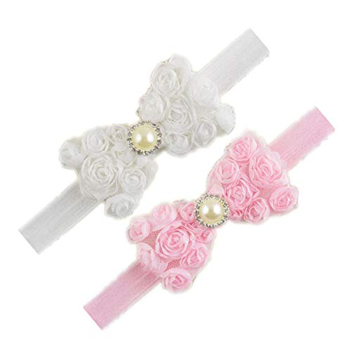 Baby Girls Headbands Lace Rose Bows Pearl Elastic Hair Band Kids with15 colors (White -