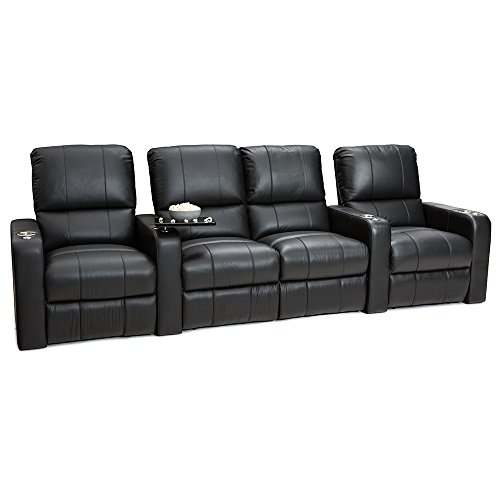 Seatcraft Millenia Home Theater Seating Power Recline Leather (Row of 4 Loveseat, Black)