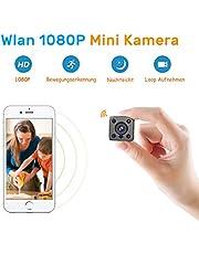 WLAN Mini Kamera, Flylinktech Full HD 1080P WiFi Mini Überwachungskamera, Mini Überwachung Kamera mit Bewegungsmelder und Infrarot Nachtsicht (TF-Karte Nicht enthalten)