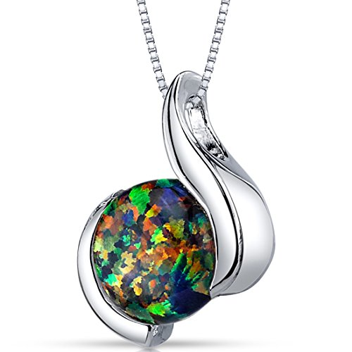 Created Black Opal Pendant Necklace Sterling Silver Round Cabochon 1.75 Carats