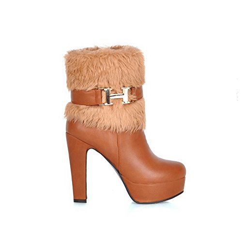 Zipper Toe Closed Solid Heels Boots Round Brown PU AllhqFashion High Womens wpOXHqR