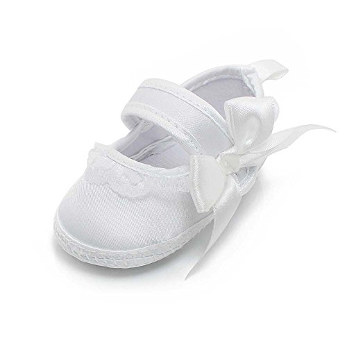 Delebao Baby Girl Infant Baptism Dance Ballerina Slippers with Bow Ribbon