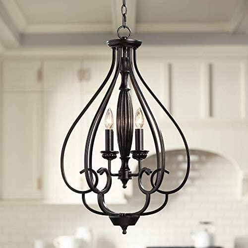 Dunnell Bronze Foyer Pendant Chandelier 18 3 4 Wide Rustic Farmhouse Open Scroll 4-Light Fixture for Dining Room House Kitchen Island Entryway Bedroom Living Room – Franklin Iron Works