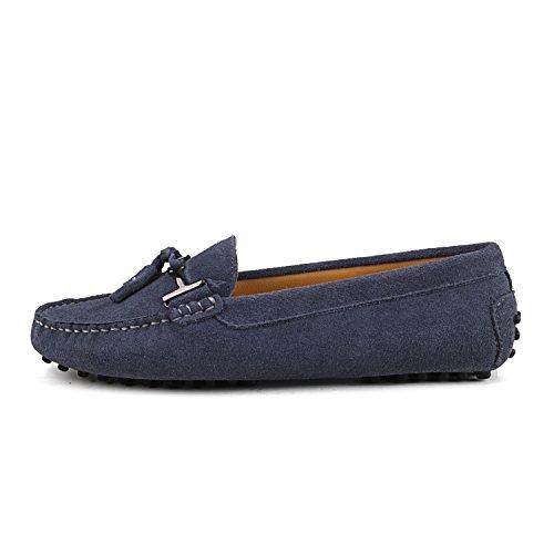 Shenduo Zapatos Casuales - Mocasines de piel con borlas cómodos para mujer D7057 Gris