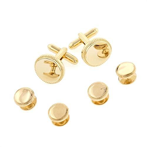Classic Round Beaded Edge Gold Plated Tuxedo Studs and Cufflinks Set - Edge Round Cufflinks