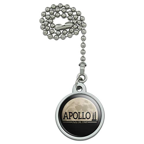 GRAPHICS & MORE NASA Apollo 11 Moon with Saturn V Rocket and Launchpad Ceiling Fan and Light Pull Chain ()