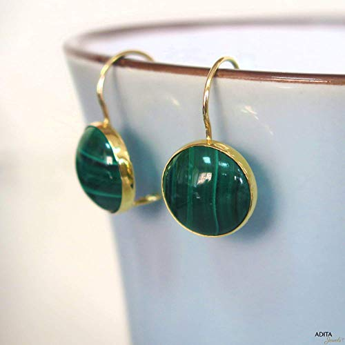 14K Gold Green Malachite Earrings - 14K Solid Yellow Gold Dangle Drop Earrings, 12mm Natural Stone, Genuine Dark Green Malachite Gemstone, Minimalist Simple Handmade Dainty Jewelry Statement Earrings