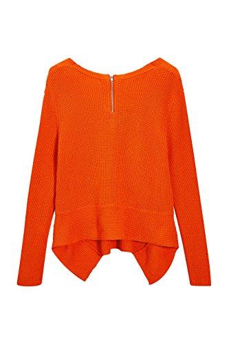 next Mujer Jersey Suéter Pulóver Asimétrico Cuello V Manga Larga De Algodón Naranja
