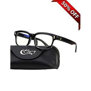 CGID CT84 Computer Glasses Readers Reading Video Gaming Glasses of Anti Blue Light Eye Strain and UV Light,Vintage Rectangle Black Frame,Transparnet Lens