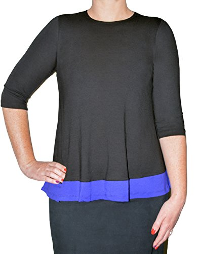 Kosher Casual Modest 3/4 Sleeve Flared Color Block Top For Women Medium Black/Purple