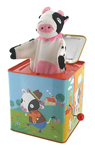Lutèce Créations Diable en boîte Musical / Diable à Ressort / Jack-in-The-Box en métal chromolithographié avec boîte à Musique à manivelle et Vache en Tissu (Réf: 1439) - Pop! Goes The Wea