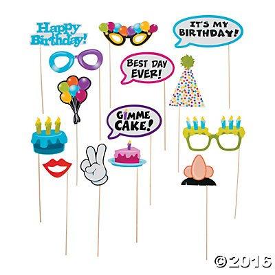 Happy Birthday Photo Stick Props - 14 (Photo Booth Birthday Props)