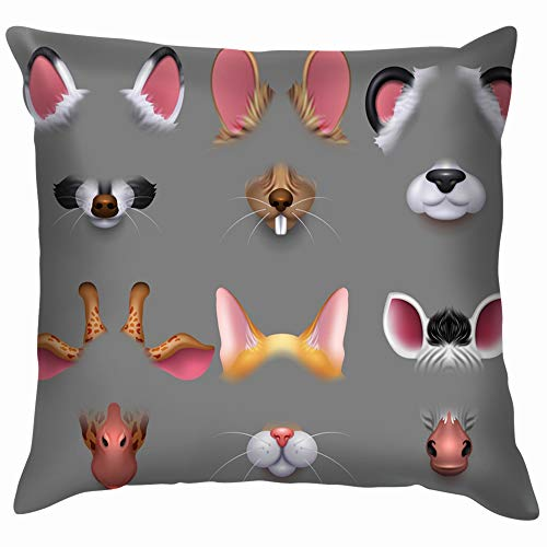 Cute Animal Ears Nose Video Effect Mask Throw Pillows Covers Accent Home Sofa Cushion Cover Pillowcase Gift Decorative 18X18 -