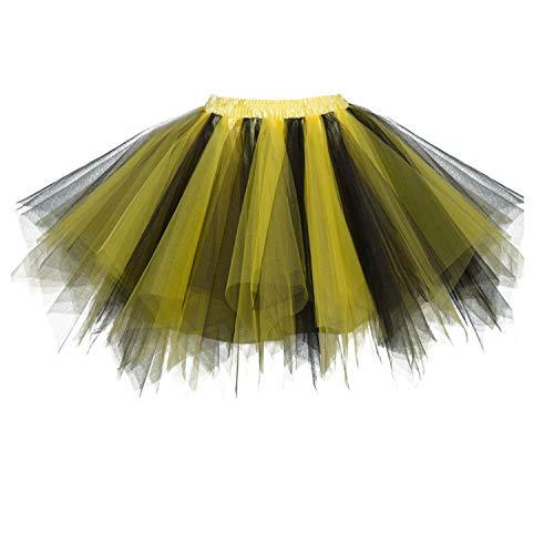 Dresstore Women's Short Vintage Petticoat Skirt Ballet Bubble Tutu Multi-Colored Black-Yellow L/XL -