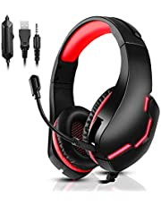 PS4 Gaming Headset for Xbox One, PS5, PC, Over Ear Headphones with Noise-Cancelling Mic, J10 Wired Gaming Headset with Stereo Surround Sound, LED Light, Comfort Earmuff - Red