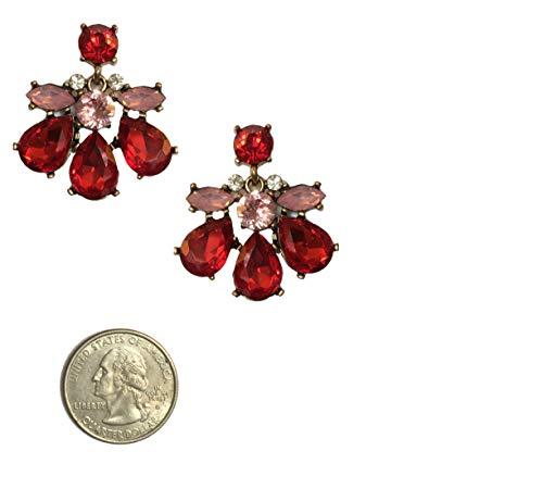 (Deco Retro Vintage Gatsby Style Ruby Red Pink Rhinestone Pear Formal Wedding Bridal Prom Statement Dangle Earrings)