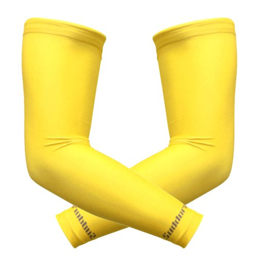 Suddora Arm Sleeves (Pair) - Sun Sleeves for Men and Women w/UV Protection for Cycling, Basketball, Running, Football, Outdoor Sports (Yellow)