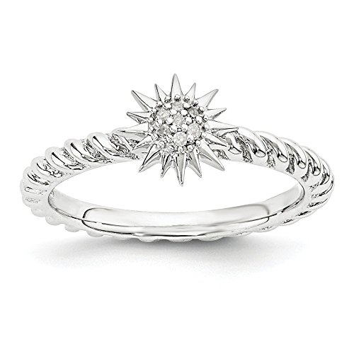 Size 9 - Solid 925 Sterling Silver Stackable Expressions Diamond Star Ring (2.3mm)