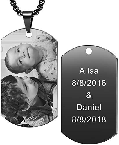 MeMeDIY Personalized Dog Tag Necklace Engraving Name Photo Customized with Picture Pendant Necklace for Men Women Stainless Steel, Bundle with 4 Items: 2 Chains, Keychain, Silencer (Black Color)
