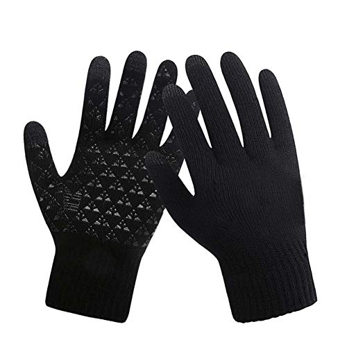 V·YIZE Touch Screen Gloves Texting Mittens Warm Polar Fleece Unisex Soft Thin Winter Gloves Windproof for Men Woman-Black