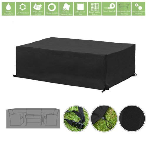 Black Water Resistant Outdoor Furniture Cover Protector for Small Garden Sofa Set Gardenista