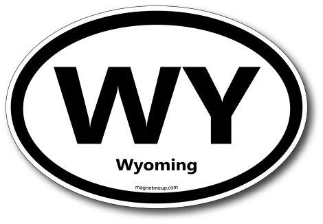 WY Wyoming Car Magnet US State Oval Refrigerator Locker SUV Heavy Duty Waterproof…