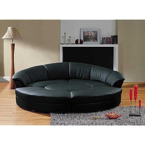 vig furniture modern black leather circular sectional sofa circle - Round Sofa Chair