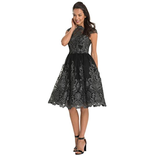 Party Dress,Agrintol Women Lace Embroidery Prom Formal Evening Bridesmaid Ball Gowns Party Dress (L, Dark Gray)