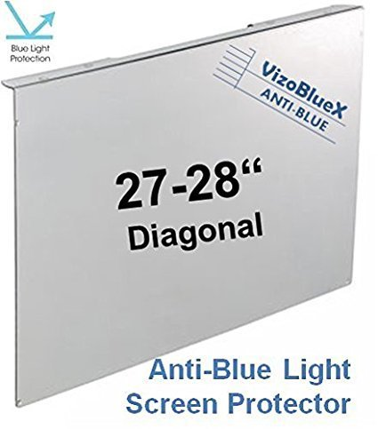 - 27-28 inch VizoBlueX Anti-Blue Light Filter for Computer Monitor. Blue Light Monitor Screen Protector Panel (24.8 x 14.6 inch). Blocks Blue Light 380 to 495 nm. Fits LCD, TV and PC, Mac Monitors
