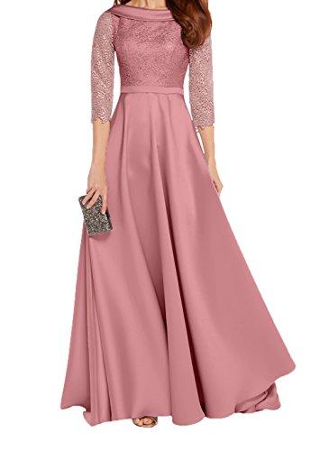 Damen Abendkleider Linie Edel Charmant Partykleider A Langarm Lang Rosa Brautmutterkleider Neu Spitze Festlichkleider Alt dITZxxwq