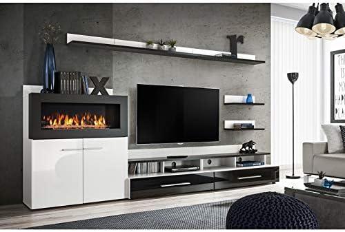 ASM - Conjunto de Pared para televisor (8 Elementos), Color Blanco y Negro: Amazon.es: Hogar