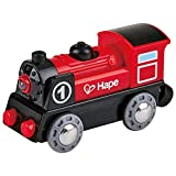 Hape Wooden Railway Battery Powered Engine No. 1 Kid's Train Set Red, White, Black, Blue, L: 3.7, W: 1.3, H: 1.9 inch