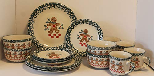 (Tienshan Gingerbread 16 pcs Dinnerware Set ~ Dinner Plate-Salad Plate-Bowl-Mug - Serves 4 - Discontinued 2004)