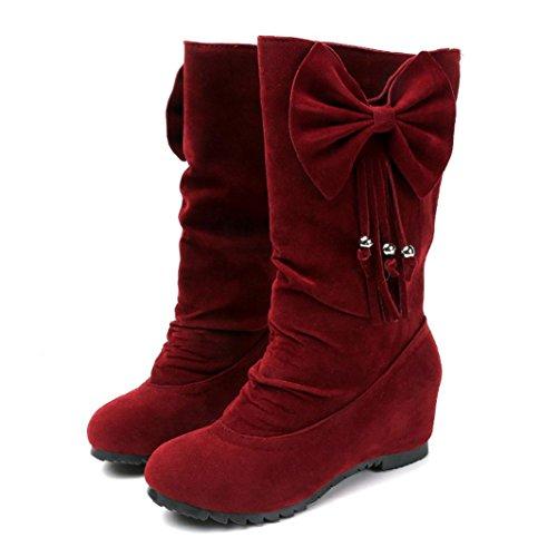 Creazyレディースブーツ蝶結びタッセル冬ブーツ暖かMid Calfブーツ冬靴