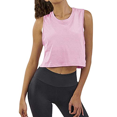 iZHH Shirt for Women Crop Top Sleeveless Racerback Workout Gym Solid Shirt Yoga Athletic Tank Pink by iZHH (Image #7)