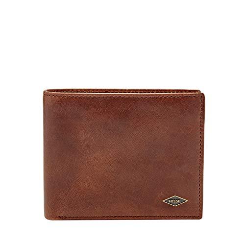 Fossil Men's RFID Blocking Ryan Large Coin Pocket Bifold Wallet, Dark Brown
