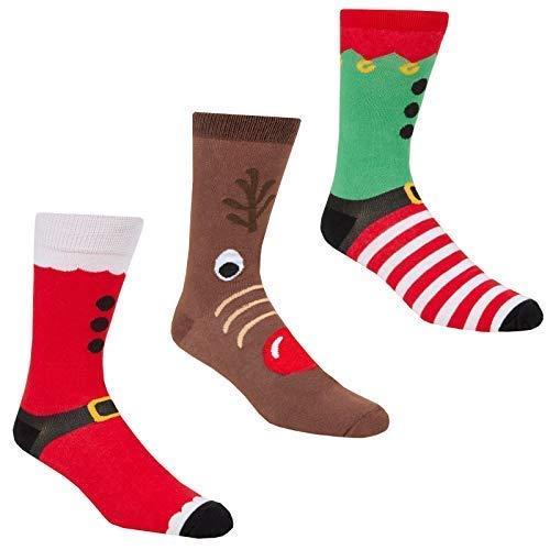 Festive Hombre Diversión Novedad Calcetines de Navidad de Algodón - Paquete de 3 - Paquete,