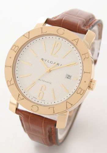 BVLGARI White dial K18YG case Alligator leather belt automatic winding BB42WGLDAUTO Men watch