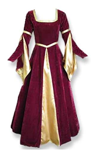 Artemisia Designs Renaissance Medieval Gown with Satin Panel Insert and Ribbon Accents (XL, Burgundy)