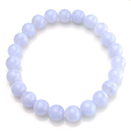 BEADNOVA AAA Grade 10mm Blue Lace Agate Semi Precious Gemstone Bracelet Birthstone Healing Crystal Round Beads Bracelet Stretch Beaded Bracelet Unisex (Semi Precious Blue Bracelets)