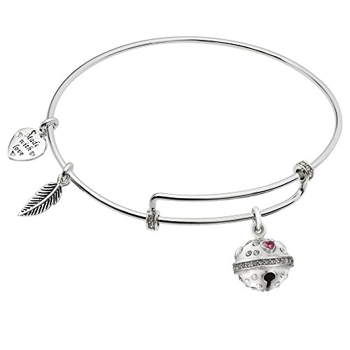 Rhodium On 925 Sterling Silver Jingle Bells Cubic Zirconia Dangle Charm Adjustable Wire Bangle Bracelet