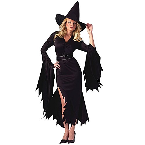 Walmart Halloween Costumes Adults (NonEcho Halloween Costumes For Women Retro Witch Sorceress Costume 2 Pieces with Hat)