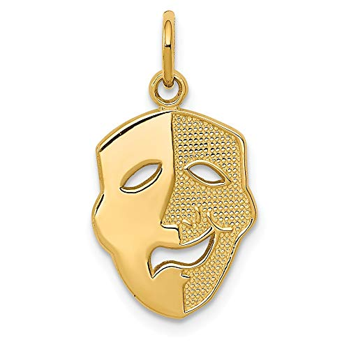 14k Yellow Gold Comedy Mask Pendant Charm Necklace Art Theater Dance Fine Jewelry Gifts For Women For Her