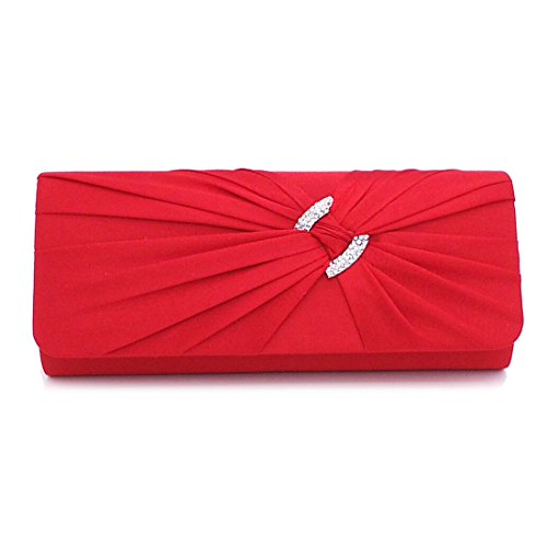 Wedding Pleated Clutch Evening Handbag with Rhinestone Bridal Red Women Purse for Satin 7ppArXq