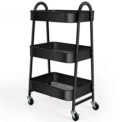 3-Tier Utility Rolling Cart with Large Storage and Metal Wheels for Office,Kitchen,Bedroom,Bathroom,Black 130839