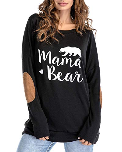 Sundray Women's Mama Bear t Shirt Round Neck Tops Letter Print Tunics Villus Patch Blouse (Large, Black-) Black Bear Print T-shirt