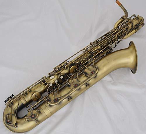 FidgetKute Professional Antique Baritone Saxophone Eb Bari sax Low A 2 Necks With Case