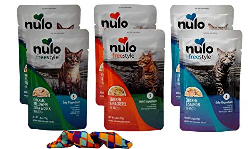 Nulo Freestyle Gourmet Grain Free Natural Cat Food Complement 3 Flavor Variety 6 Pouch Plus Kong Catnip Toy Bundle, 2 Each: Chicken Yellowfin Tuna Duck, Chicken Mackerel, Chicken Salmon (2.8 Ounces)